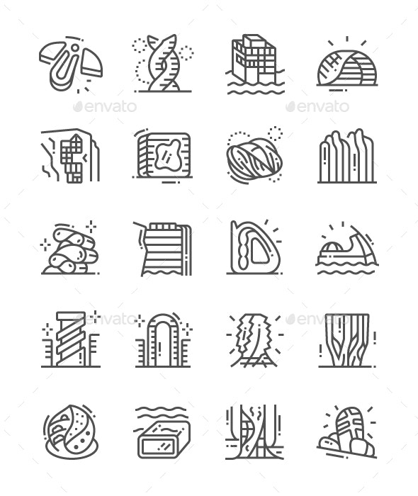 Future Architecture Line Icons - Buildings Objects