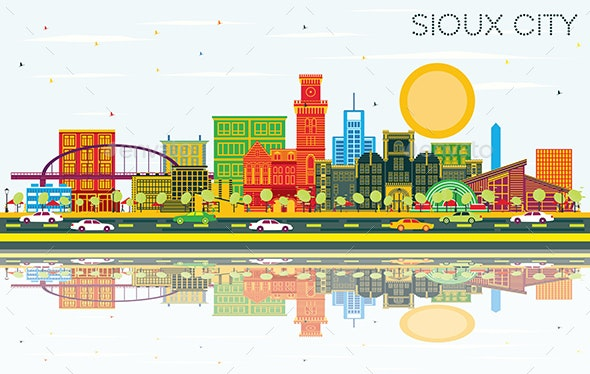 Sioux City Iowa Skyline with Color Buildings - Buildings Objects