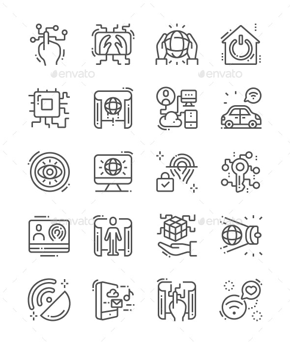 Digital Reality Line Icons - Technology Icons