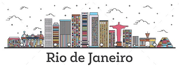 Outline Rio de Janeiro Brazil City Skyline with Color Buildings - Buildings Objects