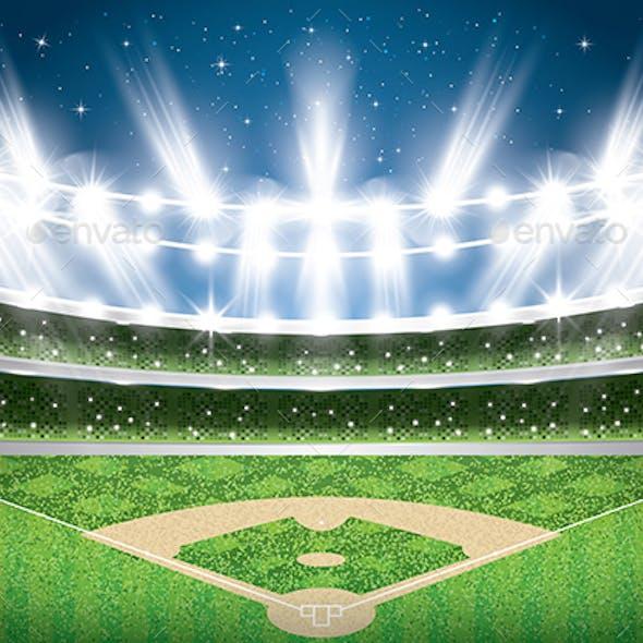 Baseball Stadium with Neon Lights Arena
