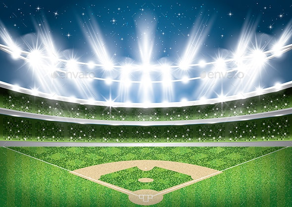 Baseball Stadium with Neon Lights Arena - Buildings Objects