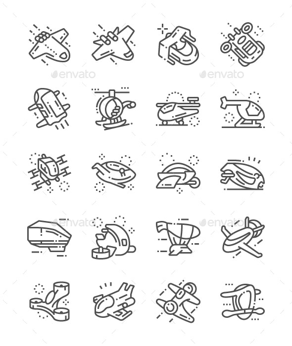Future Air Technology Line Icons - Technology Icons