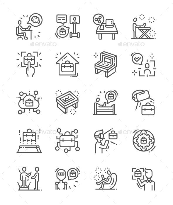 Workspace of the Future Line Icons - Technology Icons