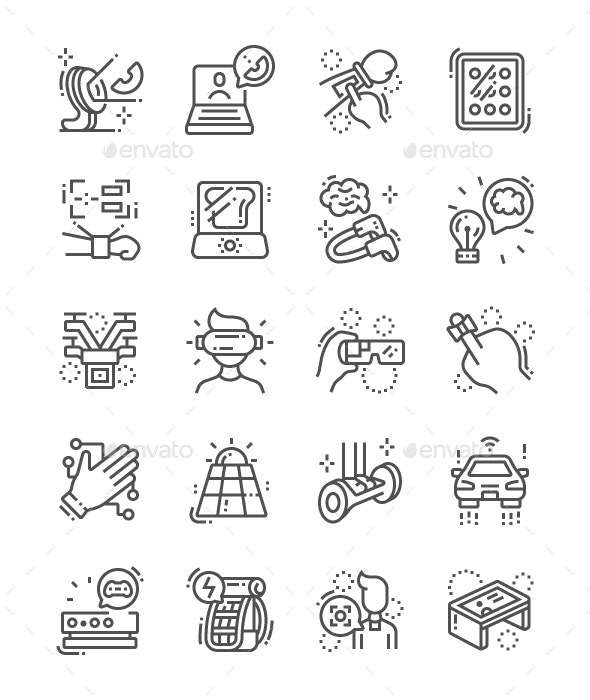 Future Gadgets Line Icons - Technology Icons