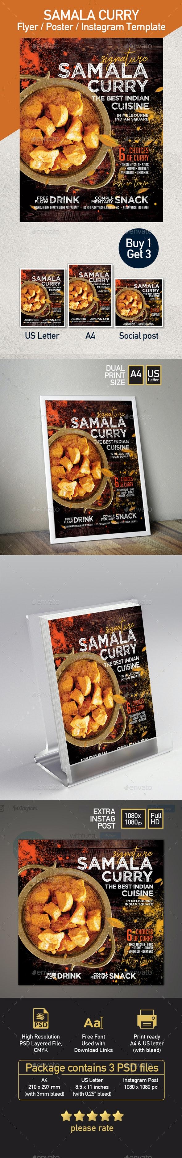 Indian Cuisine Restaurant flyer - Set of 3 Templates - Restaurant Flyers