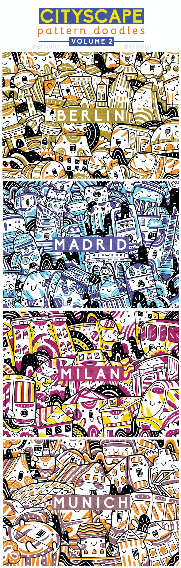 Cityscape Pattern Doodles Volume 3 - Patterns Backgrounds