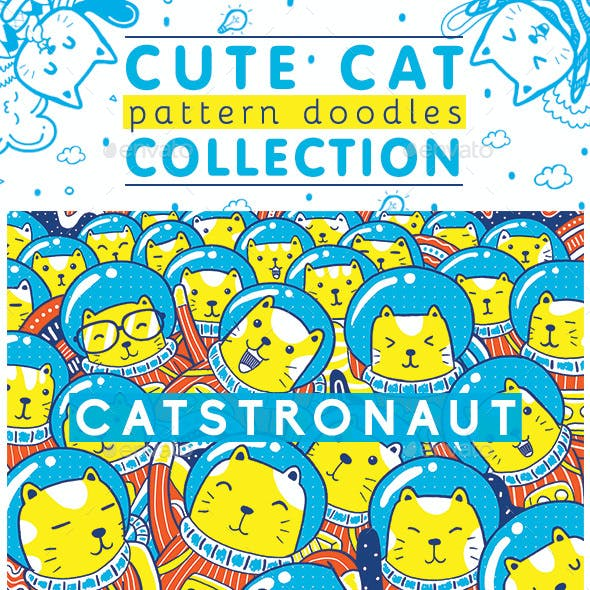 Cute Cat Pattern Doodles Collection