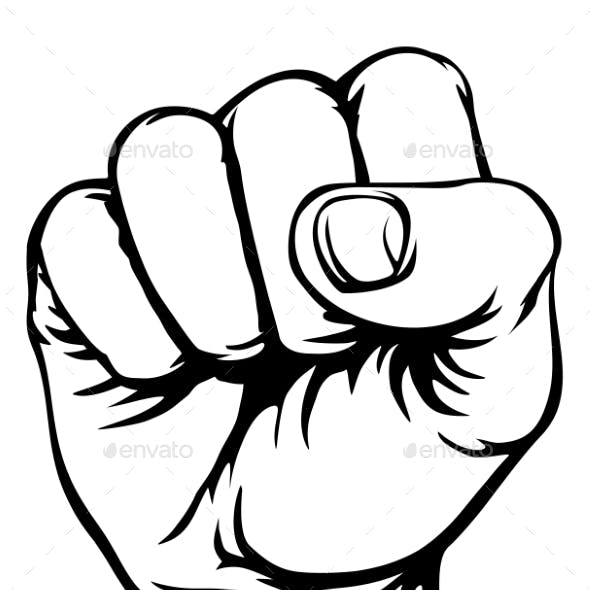 Retro Revolution Hand Fist Raised Air Propaganda