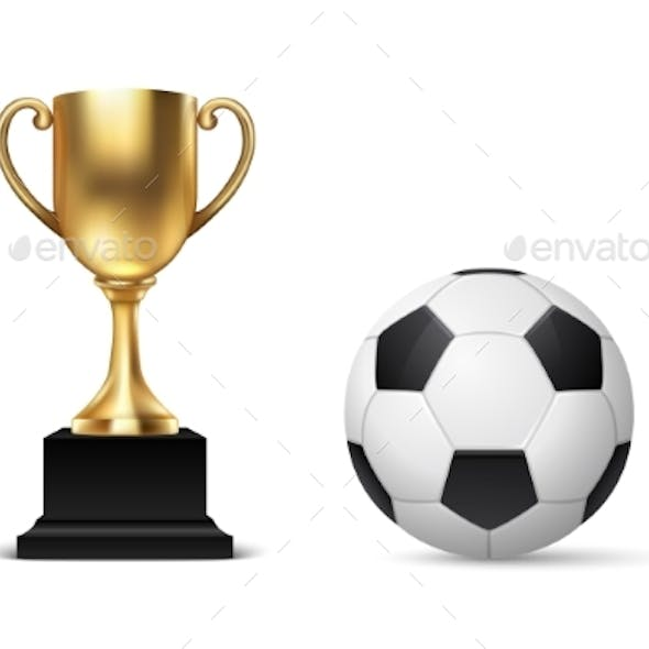 Realistic Vector 3d Blank Golden Champion Cup Icon