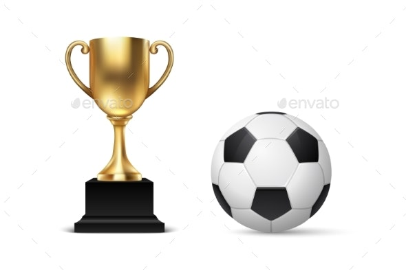 Realistic Vector 3d Blank Golden Champion Cup Icon - Sports/Activity Conceptual
