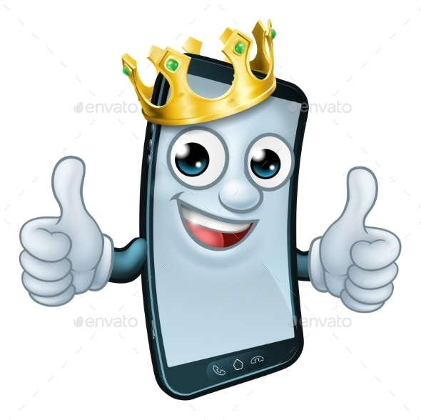 Mobile Phone King Crown Thumbs Up Cartoon Mascot - Miscellaneous Characters