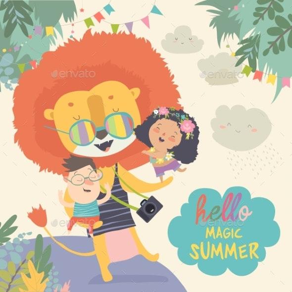 Lion Hugging Children Hello Adventures - Animals Characters