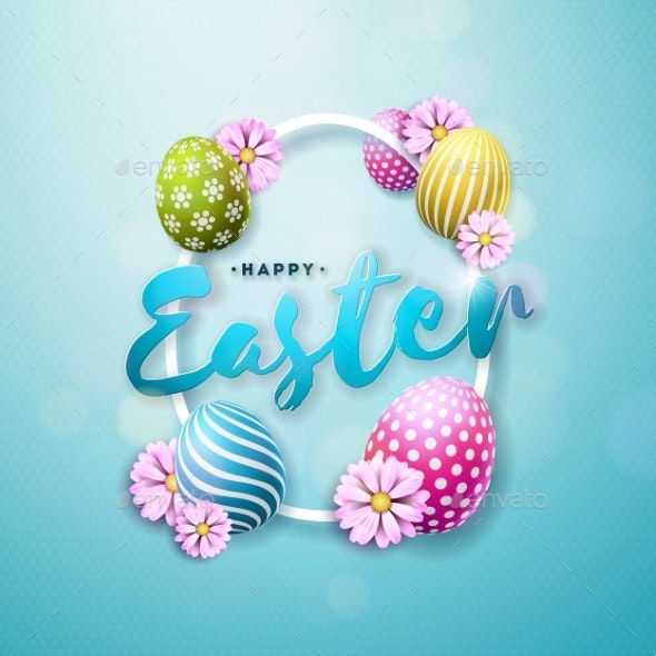 Vector Illustration of Happy Easter Holiday - Miscellaneous Seasons/Holidays