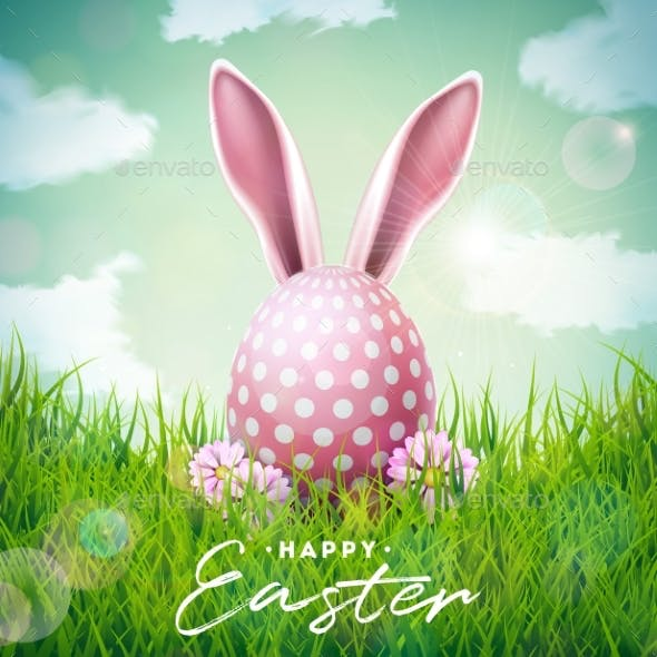 Happy Easter Holiday Illustration with Rabbit Ears