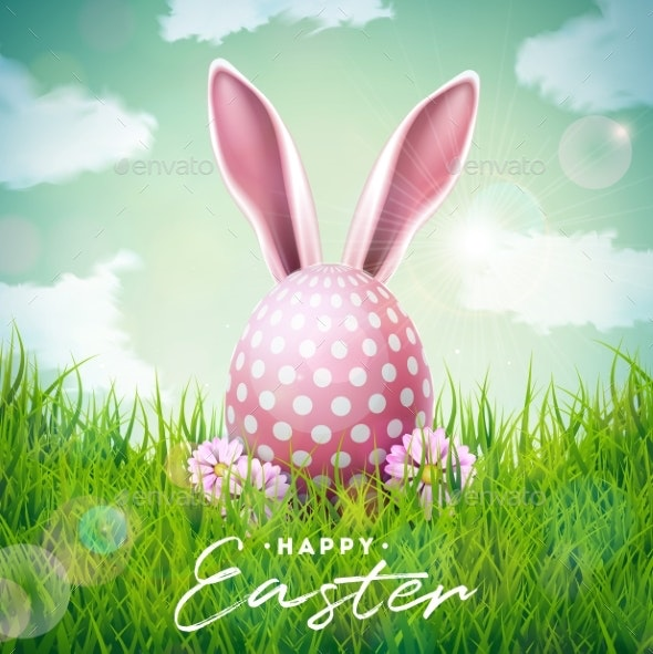 Happy Easter Holiday Illustration with Rabbit Ears - Miscellaneous Seasons/Holidays