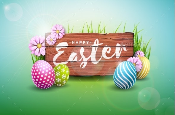 Happy Easter Holiday Illustration with Painted Egg - Miscellaneous Seasons/Holidays