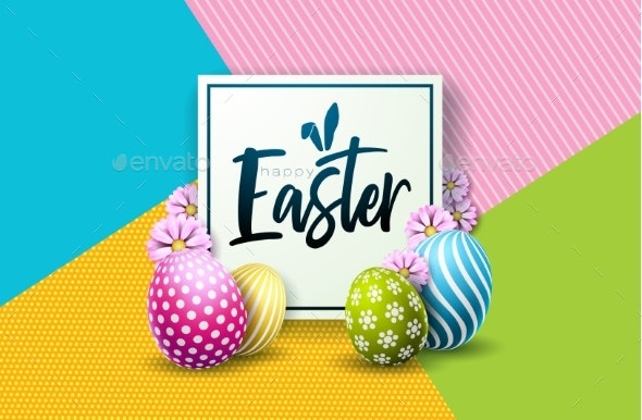 Happy Easter Holiday Design with Painted Egg - Miscellaneous Seasons/Holidays
