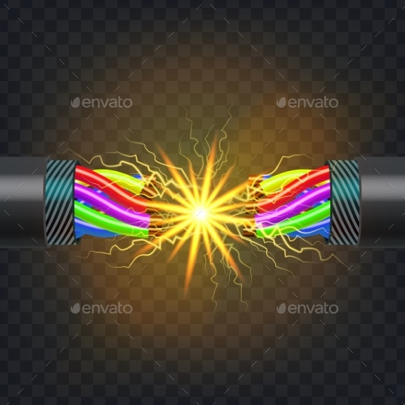 Electric Break Cable Vector Electrical Circuit - Man-made Objects Objects
