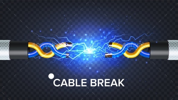 Break Electric Cable Vector - Man-made Objects Objects