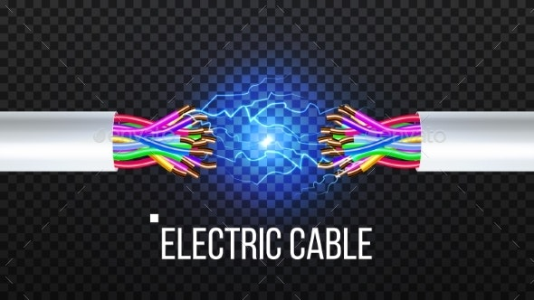 Disconnect Electric Cable Vector. Copper Wire - Man-made Objects Objects