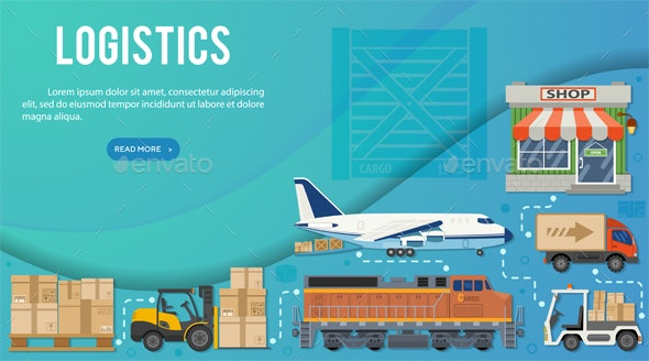 Freight Transport and Logistics Banner Infographics - Services Commercial / Shopping