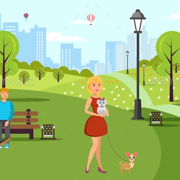 Dog Lovers Walk Vector Color Flat Illustration