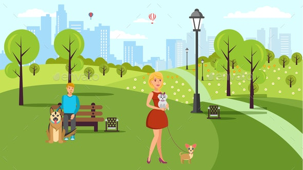 Dog Lovers Walk Vector Color Flat Illustration - People Characters