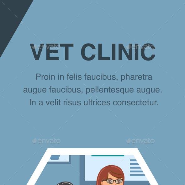 Vet Clinic Queue Poster Vector Color Template