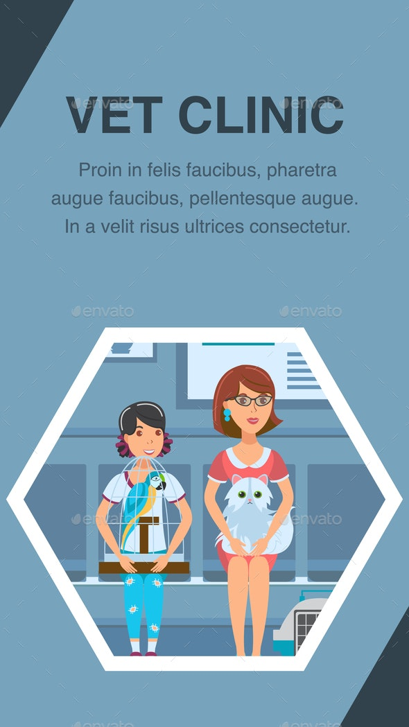 Vet Clinic Queue Poster Vector Color Template - Animals Characters
