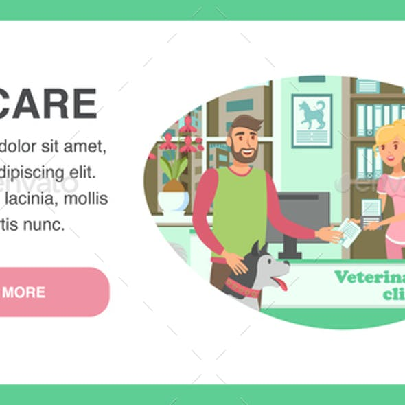 Veterinary Clinic Landing Page Vector Template