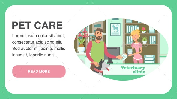 Veterinary Clinic Landing Page Vector Template - Animals Characters