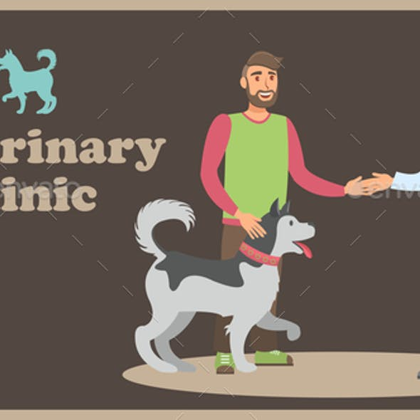 Pet Clinic Flat Web Banner Vector Color Template
