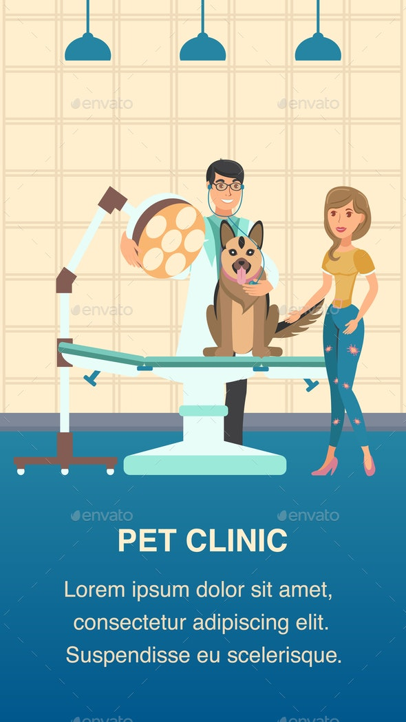 Pet Clinic Vector Color Poster Cartoon Template - Animals Characters