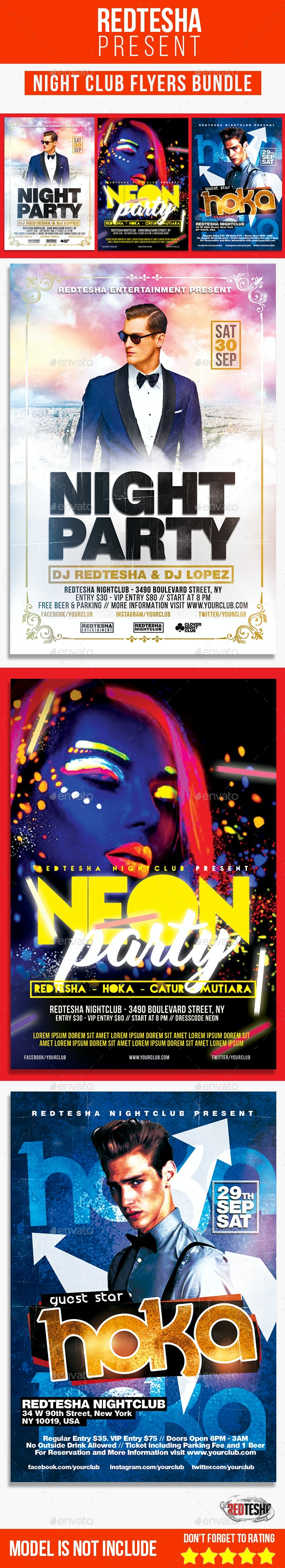 Night Club Flyers Bundle - Clubs & Parties Events