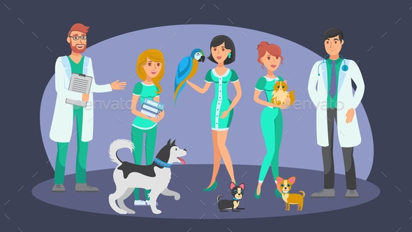 Veterinary Staff Flat Vector Color Characters - Animals Characters