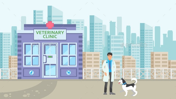 Animal Hospital in Cityscape Flat illustration - Animals Characters