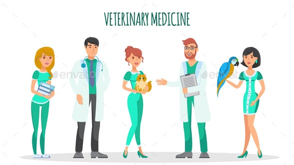 Veterinary Medicine Flat Characters Vector Set - Animals Characters