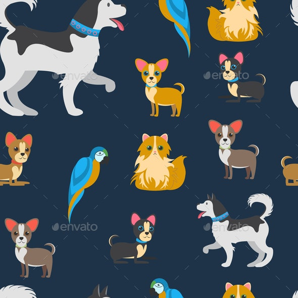 Cartoon Pets Vector Color Flat Seamless Pattern - Animals Characters