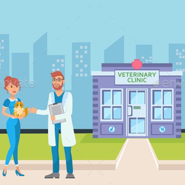Vet Clinic in Cityscape Flat Vector Illustration
