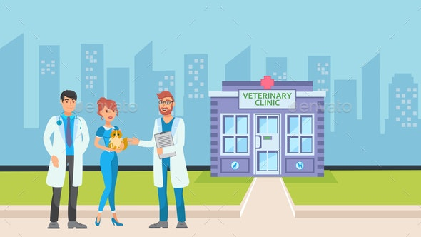 Vet Clinic in Cityscape Flat Vector Illustration - Animals Characters