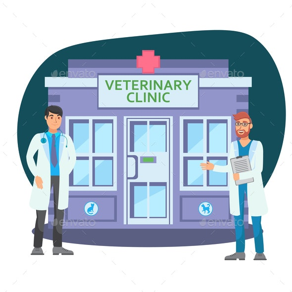 Veterinary Clinic Flat vector Color Illustration - Animals Characters
