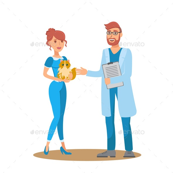 Vet Consultation Flat Vector Color Illustration - Animals Characters