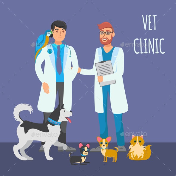 Veterinary Consultation Flat Color Illustration - Animals Characters