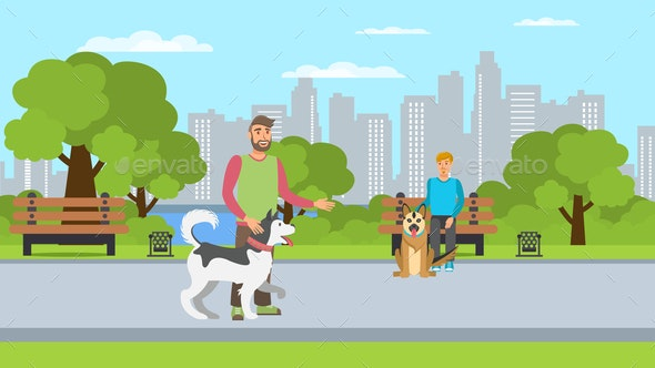 Dog Lovers Walk Flat Color Vector Illustration - Animals Characters