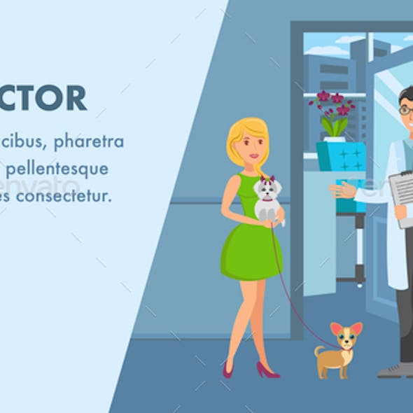 Pet Doctor Appointment Banner Vector Template