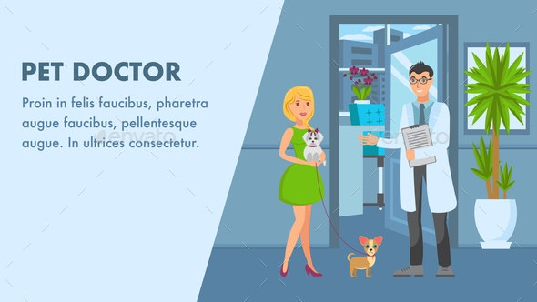 Pet Doctor Appointment Banner Vector Template - Animals Characters