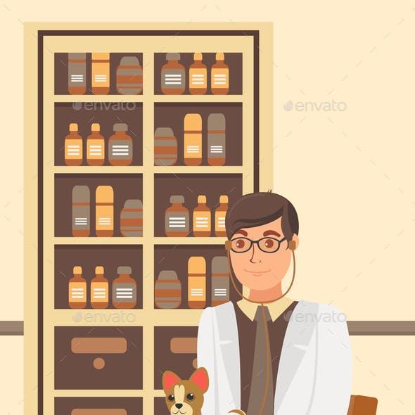 Veterinarian Appointment Flat Vector Illustration