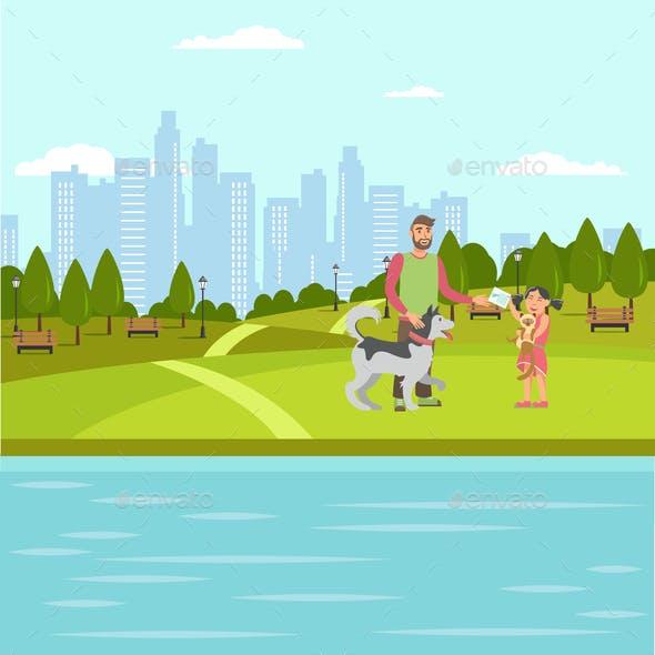 Pet Lovers Walk Vector Color Flat Illustration