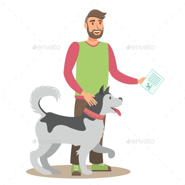 Man with Husky Flat Vector Color Illustration
